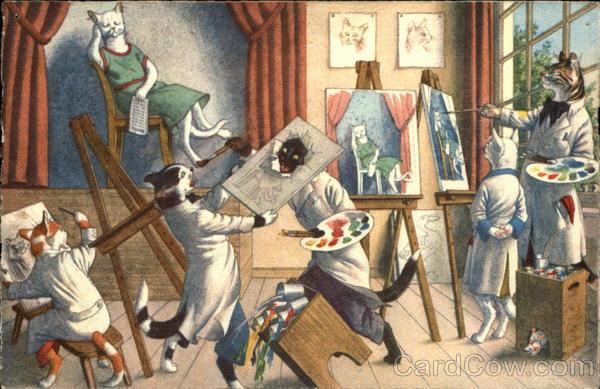 Cats Painting Max Kunzli