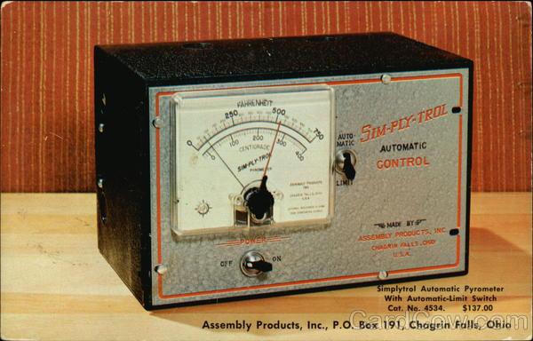 Simplytrol Automatic Pyrometer Chagrin Falls Ohio Advertising