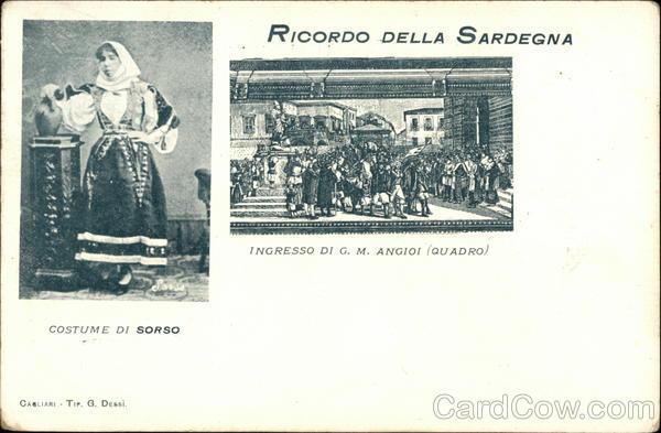 Local Costume and Scene of Sardinia Italy