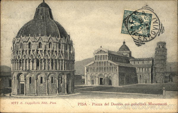 Piazza del Duomo coi principali Monumenti Pisa Italy