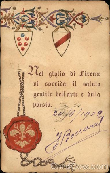 Nel giglio di firenze vi sorrida il saluto gentile dell'arte e della poesia Florence Italy