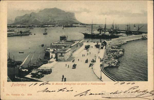 Palermo - Il Monte Pellegrino col porto e l'antemurale Italy