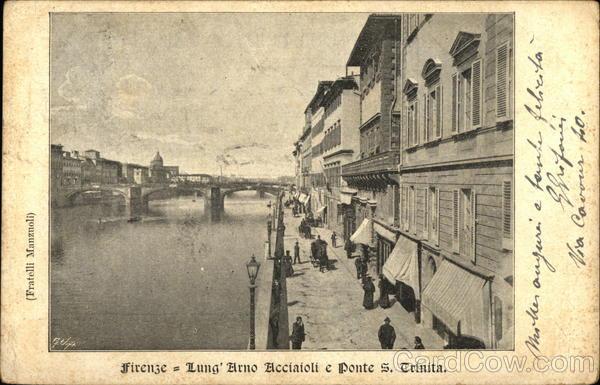 Firenze - Lung' Arno Acciaioli e Ponte S. Trinita Florence Italy