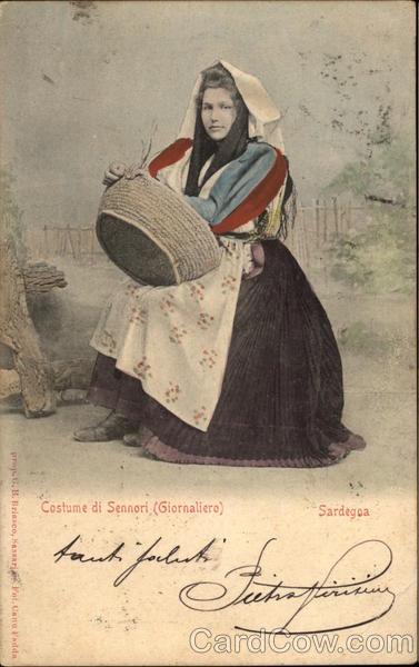 Traditional Women's Costume of Sennori, Sardinia Italy