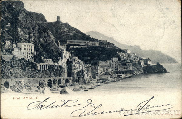 View of Town and Coastline Amalfi Italy
