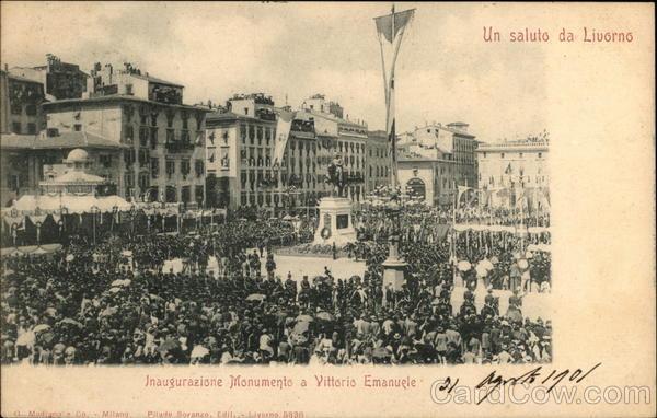 Inauguration of Monument to Vittorio Emanuele Livorno Italy