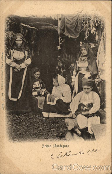 Local Residents in Traditional Costume Aritzo (Sardinia) Italy