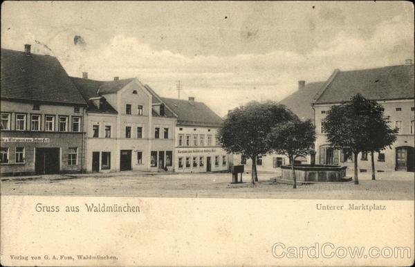 Greetings, View of Lower Marketplace Waldmunchen Germany