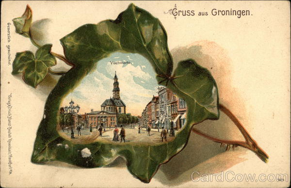 Gruss aus Groningen Vischmarkt Netherlands Benelux Countries