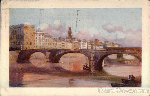 Lung' Arno col Ponte S. Trinita Florence Italy