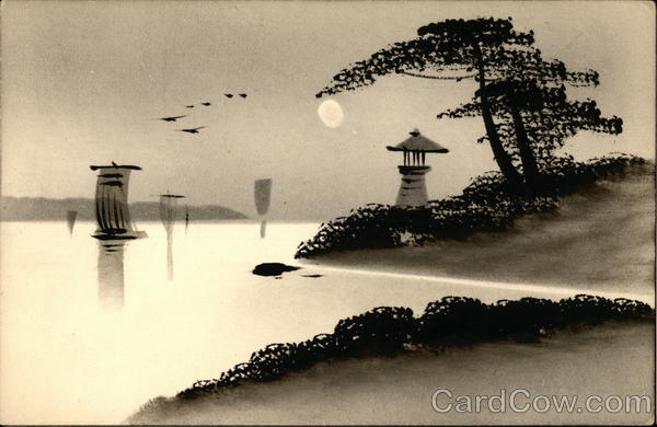 Japanese painting of a Harbor - Lacquered Art