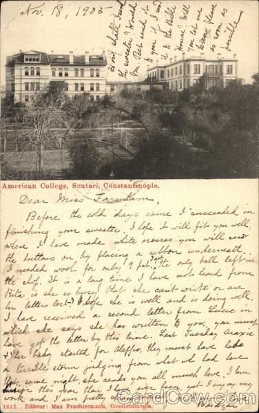American College, Scutari Constantinople Turkey Greece, Turkey, Balkan States