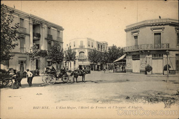L'Etat Major, l'Hotel de France et l'Avenue d'Algerie Bizerte Tunisia