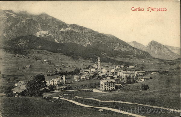Aerial View of Town Cortina d'Ampezzo Italy
