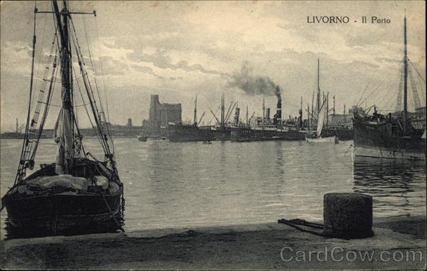 View of Port Livorno Italy