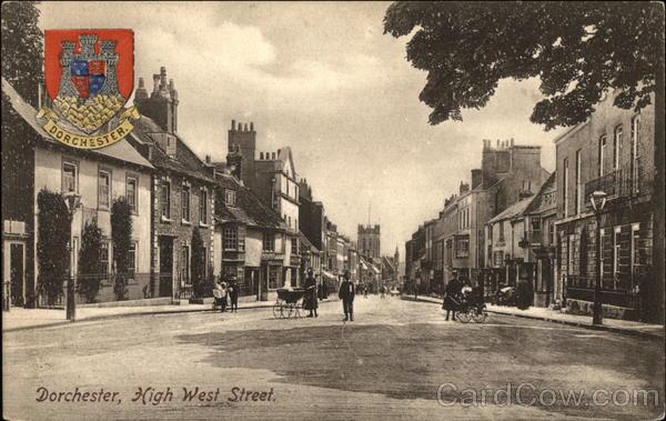 Looking Along High West Street Dorchester England Dorset
