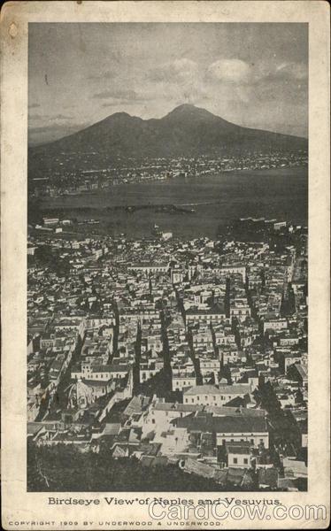 Bird's Eye View of Naples and Vesuvius Italy