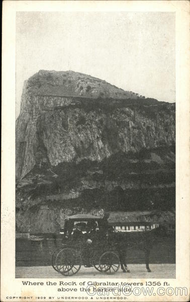 Where the Rock Towers 1356 ft. Above the Harbor Side Gibraltar