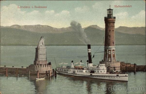 Lighthouse and Harbor Entrance, Lake Constance Lindau Germany
