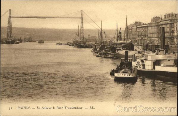 Rouen - La Seine et le Pont Transborduer France