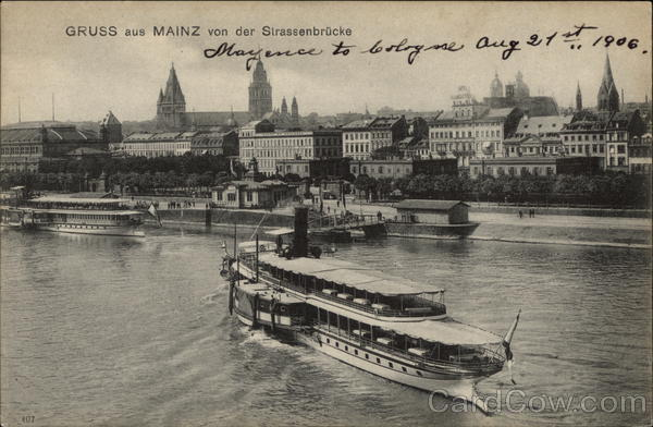 View of City from Strassenbrucke Mainz Germany