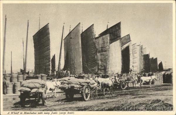 A Wharf in Manchukuo with Many Junks (Cargo Boats) China