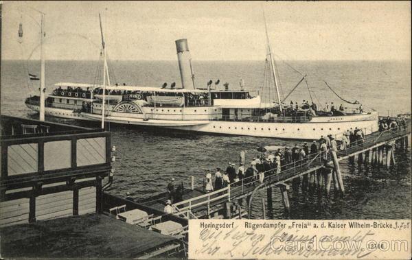 Steamer Freja at Kaiser Wilhelm Bridge Heringsdorf Germany