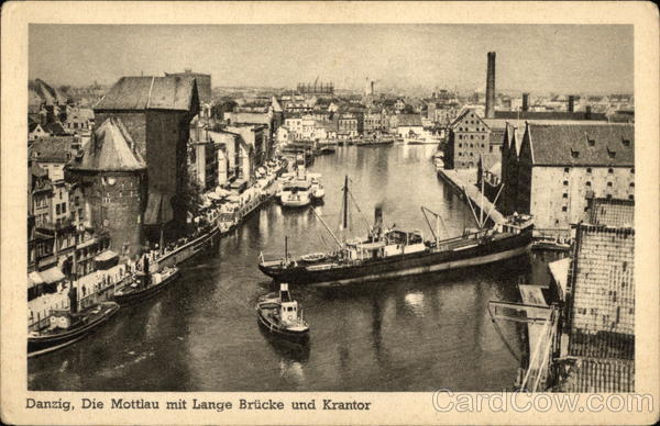 The Mottlau with Long Bridges and City Gate Danzig Germany