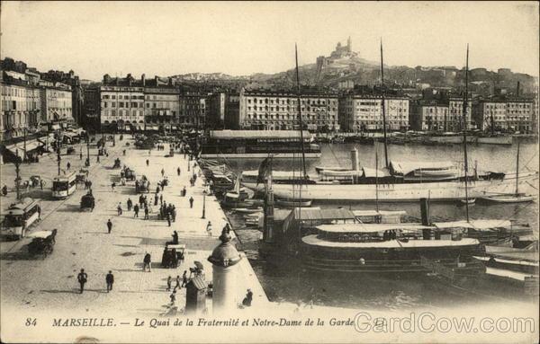 Le Quai de la Fraternite et Notre-Dame de la Garde Marseille France
