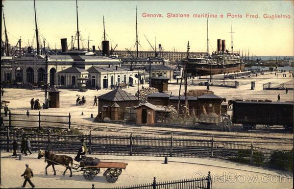 Stazione Marittima e Ponte Federico Guglielmo Genoa Italy