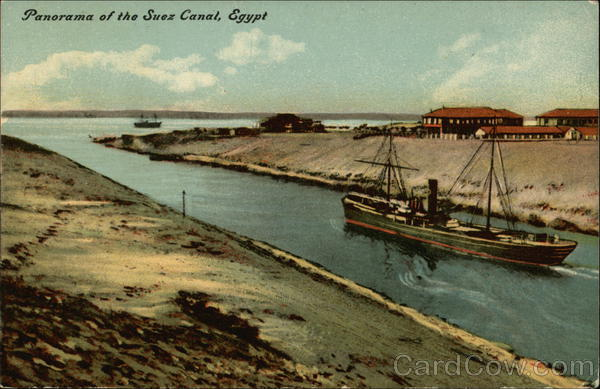Panorama of the Suez Canal Egypt Africa