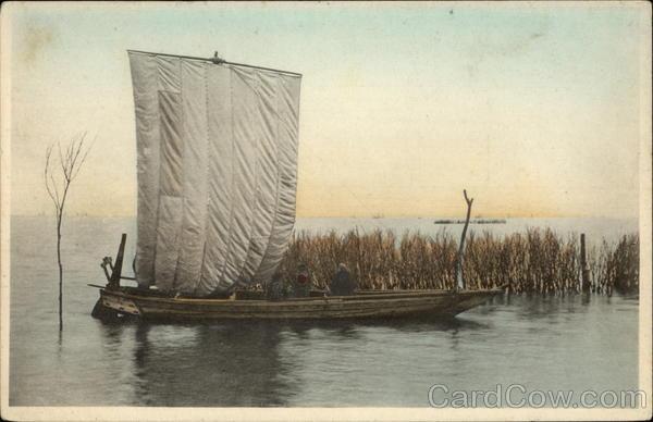 Sailboat moored among reeds Japan