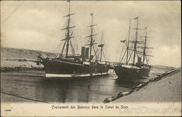 Ships in the Suez Canal Egypt Africa