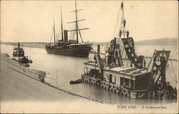 Suez Canal and Dredging Machine Port Said Egypt Africa
