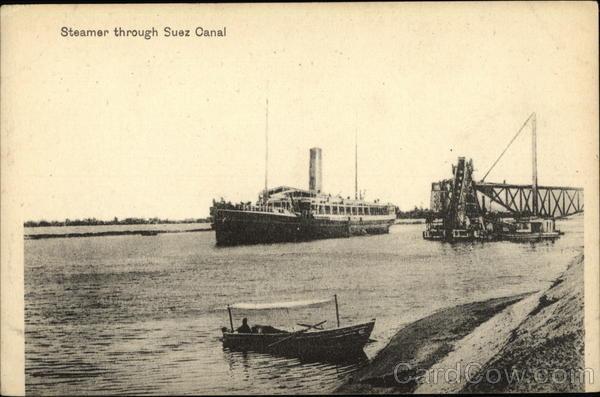 Steamer through Suez Canal Egypt Africa