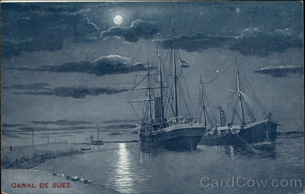Suez Canal by Moonlight Egypt Africa