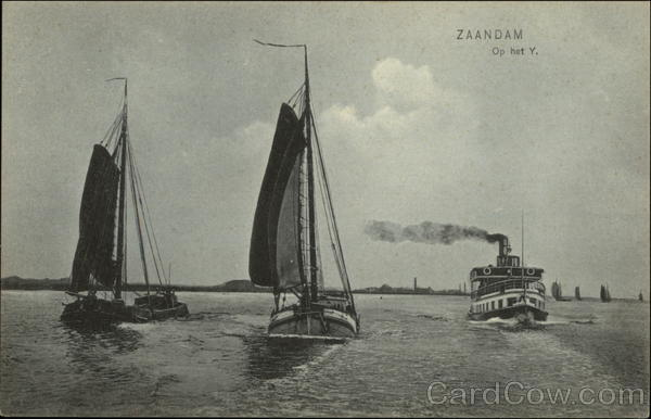 Sailboats and Steamer Zaandam Netherlands Benelux Countries