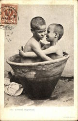 Two Itallian Boys in a Bathtub