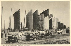 A Wharf in Manchukuo with Many Junks (Cargo Boats)