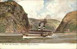 "Steamer ""Kaiserin Auguste Victoria"" passing The Lorelei"